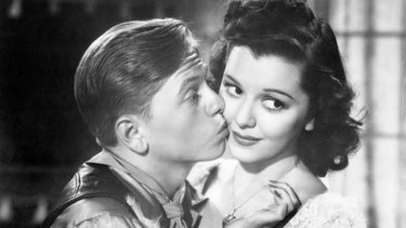 Mickey Rooney with actress Ann Rutherford in the 1938 film <i>Out West With the Hardys</i>.