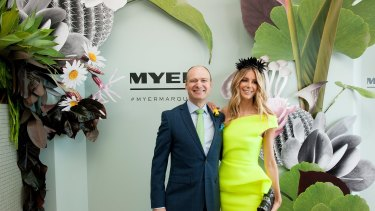 MELBOURNE, AUSTRALIA - NOVEMBER 03:  Richard Umbers and Jenifer Hawkins attend the Myer marquee during Melbourne Cup day at Flemington Racecourse on November 3, 2015 in Melbourne, Australia.  (Photo by Jesse Marlow/Fairfax Media)