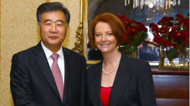 Constructive ... Julia Gillard welcomes Wang Yang.