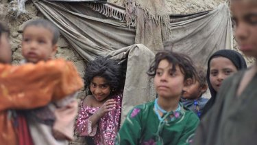 """Unstable ... despite President Barack Obama's assessment last week that the """"tide had turned"""" in defeating the Taliban, some 20,000 people who have fled the Taliban insurgency, like these children, are living in makeshift settlements in the capital, Kabul."""