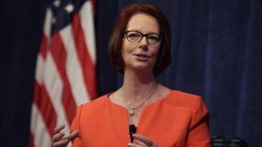 Former Australian Prime Minister Julia Gillard speaks at a policy forum in Washington.