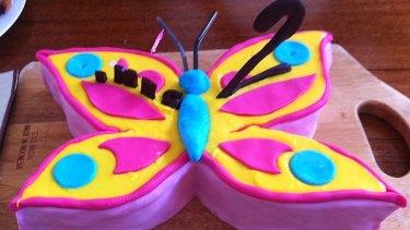 Eye catching ... Jess Matson's butterfly cake.