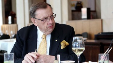 No nonsense: Harold Mitchell dines at Silks restaurant.