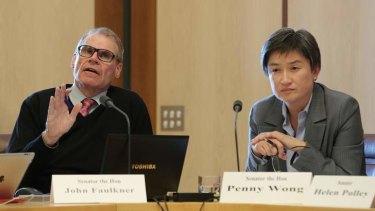 Senator John Faulkner and Senator Penny Wong during Budget Estimates at Parliament House. Photo: Alex Ellinghausen