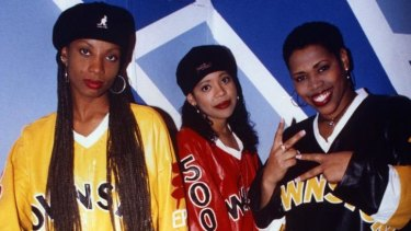 The late Charmayne 'Maxee' Maxwell (left) poses with fellow Brownstone members Monica 'Mimi' Doby and Nichole 'Nicci' Gilbert in 1994.