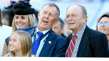 John Singleton, owner of More Joyous, and Gerry Harvey (part owner of All too Hard) look on at Royal Randwick.
