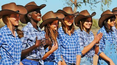 Country girls: The contestants in Broken Hill.