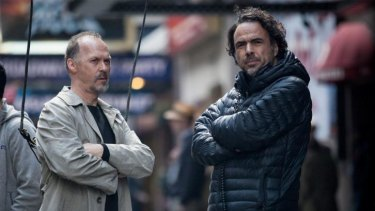 Michael Keaton and director Alejandro Gonzalez Inarritu on the set of <i>Birdman</i>.