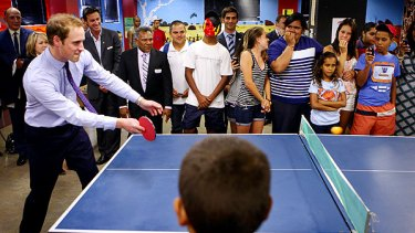 Spectator sport  ... Prince William tried his table tennis skills.