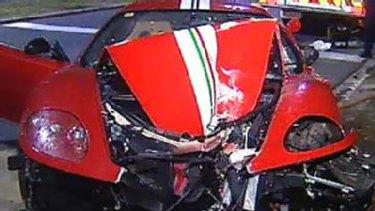 Crash ... the wrecked car.