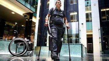 Stepping out: Radi Kaiuf demonstrates the 'ReWalk'.
