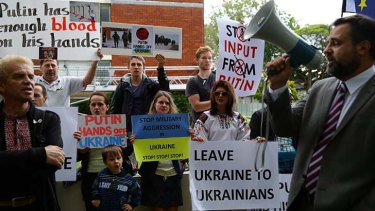 Russia's actions condemned: Protesters outside the Russian Consulate.