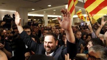 Changing tide … ERC candidate Oriol Junqueras celebrates.