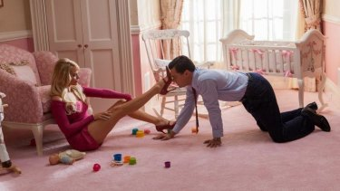 Margot Robbie and Leonardo DiCaprio in <i>The Wolf of Wall Street</i>.