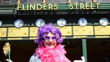 Renata Singer, co-founder of the charity Fitted for Work, dresses as Dame Edna Everage.