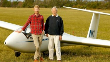 Sky's the limit: Ross Woodthorpe Anderson and his grandfather Herbert.
