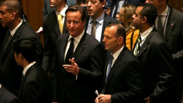 Tony Abbott with British PM David Cameron arriving to attend the UN Security Council meeting on Foreign Fighters. Pool photo, supplied.