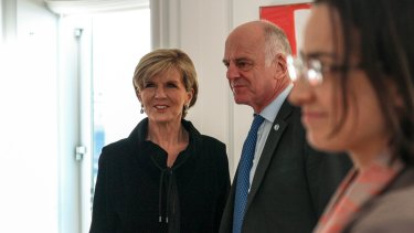 Foreign Minister Julie Bishop with David Nabarro, then UN secretary-general's special envoy on Ebola in New York, November 2014.