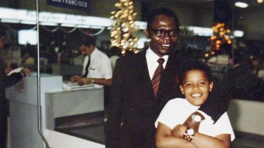 Men and boys … Barack Obama with his father, Barack snr.