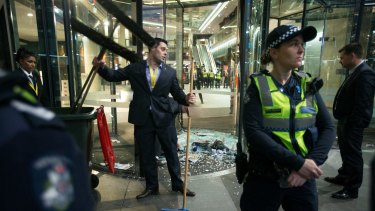 The clean-up following the protest  at the book launch of Christopher Pyne's new book.