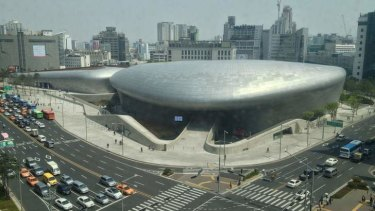 "Curve appeal: The outer ""skin"" of Seoul's new Dongdaemun Design Plaza has 45,000 aluminium panels."