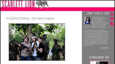 The  image of Invisible Children's founders holding weapons, displayed on photographer Glenna Gordon's website.