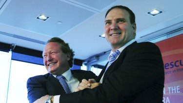 """""""The Chinese economy still has a long way to go,"""" says Fortescue's Nev Power (right, with his boss Andrew Forrest)."""