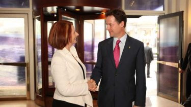 Julia Gillard meets with British Deputy Prime Minister, Nick Clegg.
