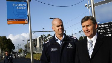 Premier John Brumby and Police Commissioner Simon Overland at St Albans railway station.