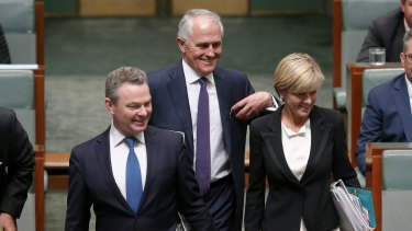 New Prime Minister Malcolm Turnbull arrives for question time with Christopher Pyne and Julie Bishop on Tuesday.