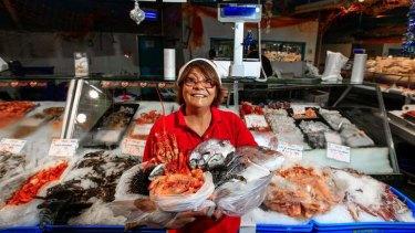 Rhodora Butterwordh of FishCo Fish Market at the Belconnen Fresh Food Markets.