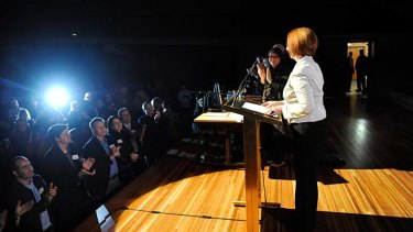 Prime Minister Julia Gillard is welcomed on stage by the Labour faithful at the recent State Labour Party conference.