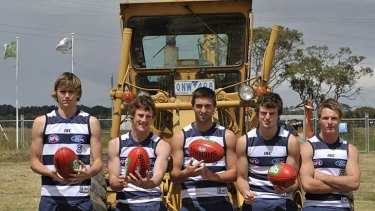 Young guns: Geelong recruits Joel Hamling (left), Jed Bews, Shane Kersten, Jordan Murdoch and Lincoln McCarthy yesterday.