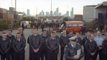 Police line up against picketers at Swanson Dock, Melbourne. April 18, 1998.