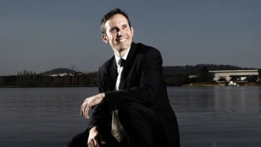 Wunderkind ... the federal MP Dr Andrew Leigh on the shores of Lake Burley Griffin in his Canberra electorate.