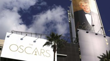 Getting ready ... comedian Ellen DeGeneres' billboard is raised above the Oscars red carpet at the Dolby Theater in Hollywood.