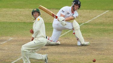 George Bailey takes evasive action at short-leg as Ben Stokes makes contact with intent.