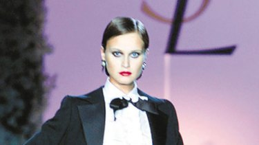 Mainstream acceptance ... Yves Saint Laurent popularised tuxedos for women in 1966.