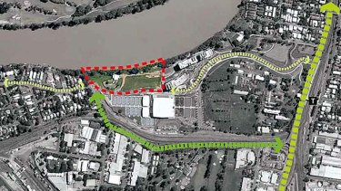 A red outline shows the stretch of riverside land which Brisbane City Council will buy for $12 million.