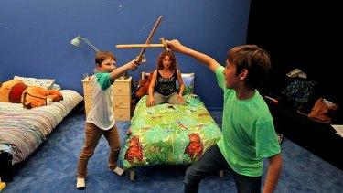 Doomed … Rory Potter, left, and Joe Kelly star as the children of Medea (Blazey Best).