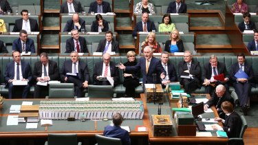 Prime Minister Malcolm Turnbull and his front bench during question time on Thursday.
