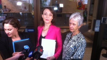 South Brisbane MP Jackie Trad, West End Community Association president Dr Erin Evans and South Brisbane councillor Helen Abrahams speak to the media after being locked out of Queensland's Executive Building.