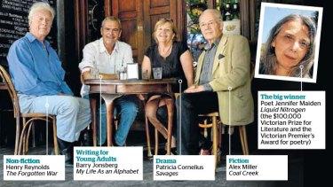Prizewinners: Henry Reynolds, Barry Jonsberg, Patricia Cornelius and Alex Miller.
