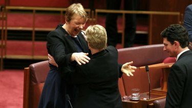 Senator Janet Rice is congratulated by Greens leader Senator Christine Milne after delivering her first speech. Photo: Alex Ellinghausen