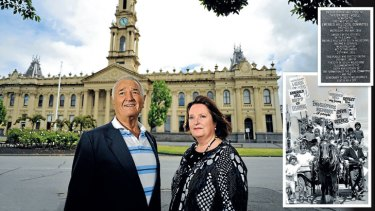 Reg Macey and daughter Leah at the South Melbourne Town Hall (main) and (insets) an Emerald Hill commemorative plaque and a protest from local children and the bottle-o's horse and cart.