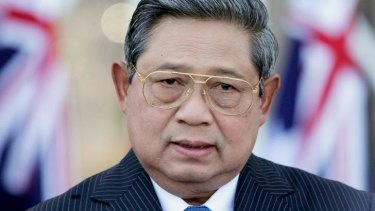 International stage: Indonesian President Susilo Bambang Yudhoyono in 2012 when he agreed in Darwin with then prime minister Julia Gillard to take action against people smugglers.