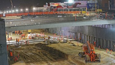 Much of the Ormond level crossing removal was done at night to minimise disruption.