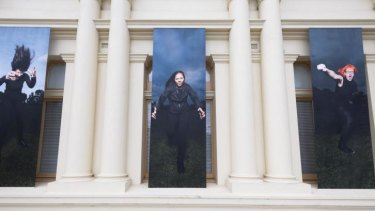 <i>The Furies</i> consists of digital prints hung on the outside of the building and a frieze of similar images inside the gallery.