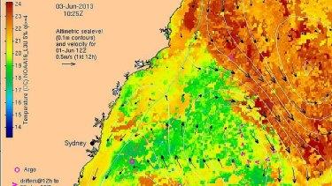 Satellite reading of off-shore temperatures, June 3. Source: CSIRO.