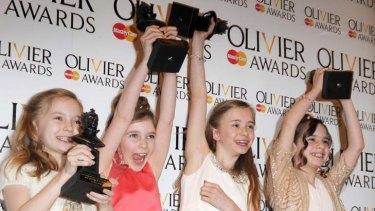 """""""Four little twerps"""" ... an elated cast from <em>Matilda The Musical</em>."""
